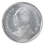 Moneda del baht tailandés cinco Imágenes de archivo libres de regalías