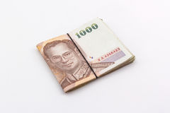 Moneda del baht tailandés con el billete de banco, dinero tailandés Imágenes de archivo libres de regalías