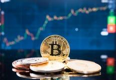 Moneda del bitcoin del negocio financiera foto de archivo