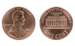 Moneda del centavo de Abraham Lincoln Imágenes de archivo libres de regalías