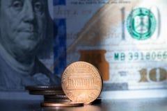 Moneda del centavo de USD del dólar, moneda de Estados Unidos imagen de archivo libre de regalías