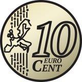 Moneda del centavo del euro diez stock de ilustración