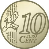 Moneda del centavo del euro diez libre illustration