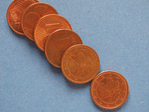 1 moneda del centavo, unión europea, Alemania con el espacio de la copia Fotografía de archivo libre de regalías