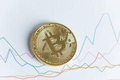 Moneda del cryptocurrency del bitcoin del oro en la línea gráfico de levantamiento que negocia el ch Foto de archivo libre de regalías