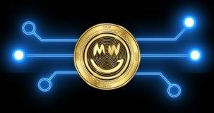 Moneda del cryptocurrency de la MUECA de la MUECA con el diagrama esquemático de la transacción del blockchain que brilla intensa ilustración del vector