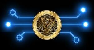 Moneda del cryptocurrency de Tron TRX con el diagrama esquemático de la transacción del blockchain que brilla intensamente libre illustration