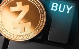 Moneda del cryptocurrency de ZCASH imagen de archivo