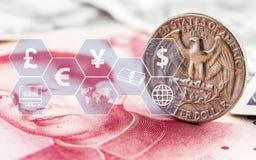 Moneda del dólar americano y billete de banco de las cuentas del yuan de China con el icono virtual El concepto de intercambio de ilustración del vector