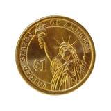 Moneda del dólar (con el camino) Imagenes de archivo