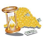 Moneda del dólar del dinero del tiempo de reloj de la arena Fotografía de archivo libre de regalías
