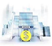 Moneda del dólar delante del edificio de oficinas como concepto de la ciudad del negocio Foto de archivo libre de regalías