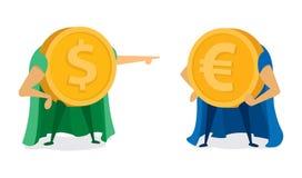 Moneda del dólar que señala en el superhéroe euro Imagenes de archivo