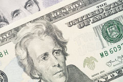 Moneda del dinero de 20 billetes de banco del dólar de Estados Unidos Fotos de archivo libres de regalías