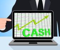 Moneda del dinero de la riqueza del aumento de las exhibiciones del gráfico de la carta del efectivo Foto de archivo