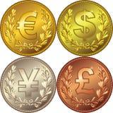 Moneda del dinero del oro con el dinero en circulación Imágenes de archivo libres de regalías