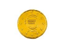 Moneda del euro del chocolate de la parte trasera Imagenes de archivo