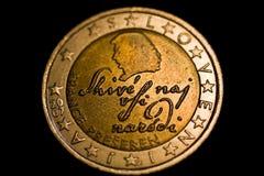 Moneda del euro del esloveno dos Imágenes de archivo libres de regalías