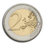 Moneda del euro dos - dinero en circulación de la unión europea Foto de archivo libre de regalías