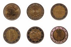 Moneda del euro muchos 2, unión europea Fotografía de archivo