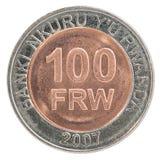 Moneda del franco de Rwanda Foto de archivo libre de regalías