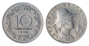 10 moneda del groschen 1929 aislada en el fondo blanco, Austria Imagen de archivo libre de regalías