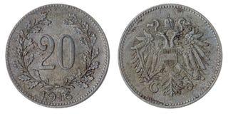20 moneda del heller 1916 aislada en el fondo blanco, Austro-Hungari Fotografía de archivo