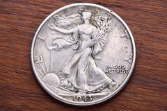 Moneda del medio dólar de la libertad que recorre Imagen de archivo