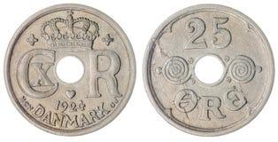 25 moneda del mineral 1924 aislada en el fondo blanco, Dinamarca Imágenes de archivo libres de regalías