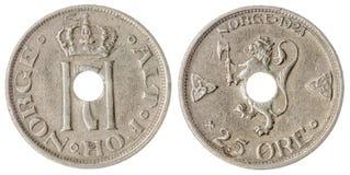 25 moneda del mineral 1923 aislada en el fondo blanco, Noruega Fotos de archivo libres de regalías