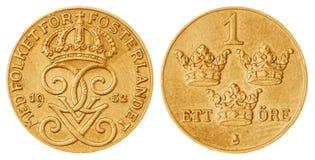 1 moneda del mineral 1932 aislada en el fondo blanco, Suecia Imagen de archivo