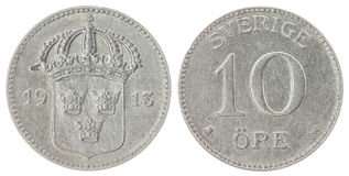 10 moneda del mineral 1913 aislada en el fondo blanco, Suecia Fotografía de archivo libre de regalías