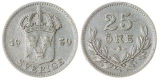 25 moneda del mineral 1930 aislada en el fondo blanco, Suecia Imagen de archivo libre de regalías