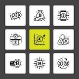 moneda del pedazo, moneda crypto, dinero, dólar, parte, móvil, VI ilustración del vector