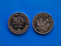 1 moneda del penique, Reino Unido sobre verde Foto de archivo
