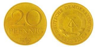 20 moneda del pfennig 1969 aislada en el fondo blanco, Alemania Imágenes de archivo libres de regalías