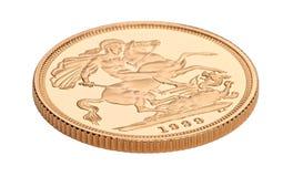 Moneda del sovereign del oro Foto de archivo libre de regalías