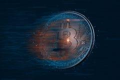 Moneda digital de Bitcoin ilustración 3D Contiene la trayectoria de recortes fotos de archivo libres de regalías