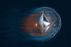Moneda digital de Ethereum ilustración 3D  imagen de archivo libre de regalías