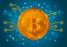Moneda digital del bitcoin de oro en un fondo azul del mundo Fotografía de archivo libre de regalías