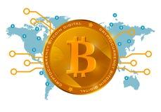 Moneda digital del bitcoin de oro en un fondo azul del mundo Fotos de archivo libres de regalías
