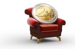 Moneda Dos-Euro en el trono Imágenes de archivo libres de regalías
