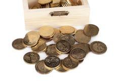 Moneda en caja de madera Fotografía de archivo libre de regalías