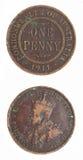 Moneda escasa del penique 1911 pre-decimales australianos Imagen de archivo libre de regalías