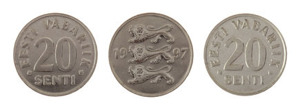 Moneda estonia vieja aislada en blanco Imagen de archivo
