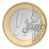 Moneda euro con la marca de exclamación Fotografía de archivo libre de regalías