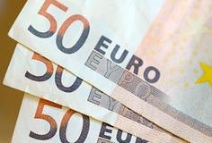 Moneda euro de la zona euro, vista parcial de billetes de banco Imágenes de archivo libres de regalías