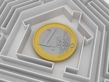 Moneda euro en laberinto. fotos de archivo libres de regalías