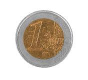 Moneda euro, 1 euro, moneda falsa Imágenes de archivo libres de regalías