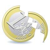 Moneda euro quebrada Imagen de archivo libre de regalías